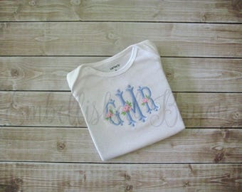 Rose Monogram T-shirt or Onesie Bodysuit for Baby or Girls Personalized