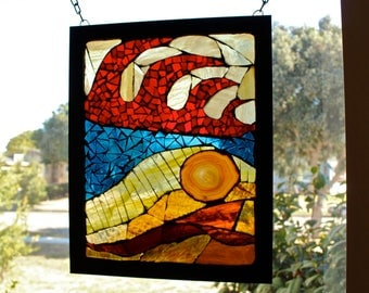California Wildfire - Stained-glass and agate mosaic