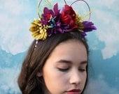 Ariel inspired Mickey Mouse Ears | Flower Crown Mickey Ears | Mermaid Ears