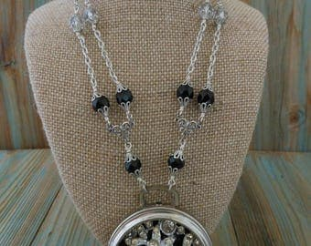 Pocketwatch Case Necklace with Recycled Rhinestone Brooch ~ Black and Clear Crystal Bead Chain Neo Victorian ~ Unique Necklaces for Women