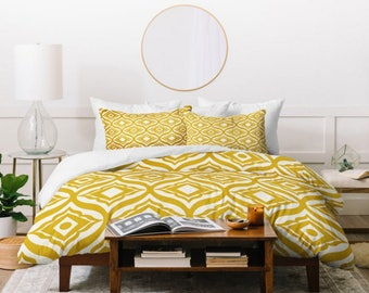 Yellow Duvet Cover // Bedding // Home Decor // Modern Geometric // Trevino Gold Design // Twin, Queen, King Sizes Available // Bedroom