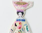 Fun Flat Doll Ornament Lady Doll With A Large Teacup On Top Of Her Head Handmade Embellished Textile Art Doll Fabric Ornament