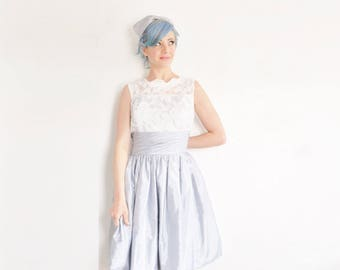 1960 style pastel blue white lace party dress . matching bow hair piece AW .medium.large