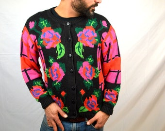 Vintage 1980s Floral Knit Cardigan Sweater