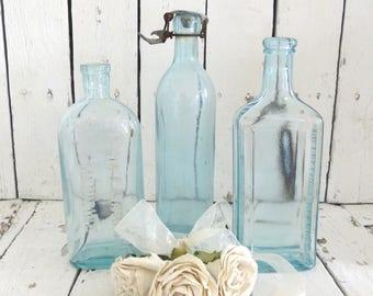 Vintage Blue Bottles, Apothecary Bottles, Old Bottles, Old Glass Bottles, Farmhouse Decor, Medicine Bottles, Seltzer Bottle, Antique Bottles