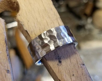 Cobalt Wedding Band USA Made Cobalt Ring w/ Sterling Silver Inlay Mens Wedding Band COB-10F12GOC-Hammer-Brush-Silver-Inlay