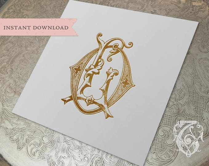 Vintage Wedding Monogram LO OL Digital Download L O