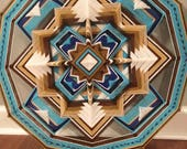 Ancestor Wisdom , a 24 inch   Ojo de Dios, by Inga, in stock, ready to ship.