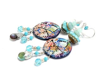 Boho Dangle Earrings. Colorful Boho Gypsy Earrings. Artisan Tinned Headpins. Lampwork Bead Earrings. Gifts For Her. Glass Bead Jewelry.