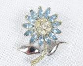 Vintage Blue Rhinestone Flower Brooch