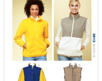 Sz XS/S/M/L/XL - Kwik Sew Pattern K3813 by Kerstin Martensson - Misses' Zip Front Jacket or Vest for Fleece Fabrics