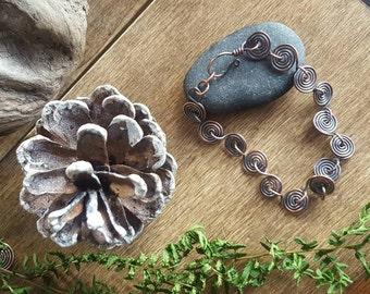 Copper Spiral Bracelet. Copper Spiral Links Bracelet. Antiqued Copper Spirals. Ladies Boho Bracelet. Rustic Copper Tribal Bracelet.