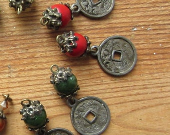 Chinese Coin Earrings, Rustic Boho Earrings, Tribal Earrings, Upcycled Recycled Jewelry, Ancient Coin Jewelry, Dangle Earrings, Bohemian
