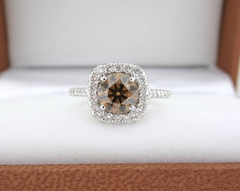 1.58 Carat Champagne Diamond Engagement Ring, Brown Diamond Wedding Ring, 14K White Gold Unique Halo Pave Certified Handmade