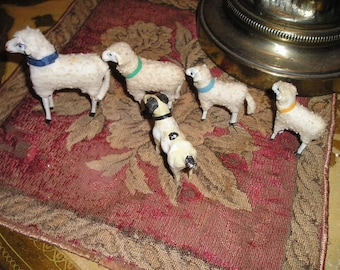 Vintage German Stick Leg Sheep Family Nativity/Creche Lambs Devotional lot 4 w/Dog. Nice Holiday Decor.