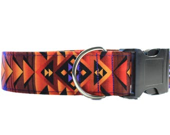 Wide Dog Collar, 1.5 Inch Dog Collar, Tribal Dog Collar, Aztec Dog Collar, Southwest Dog Collar, Fabric Dog Collar, Turquoise  and Copper