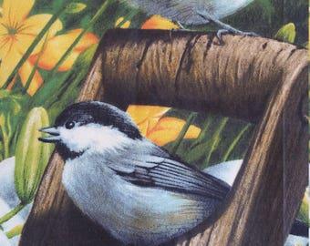 Chickadee, Fabric Panels, Bird Fabric, Cotton Fabric