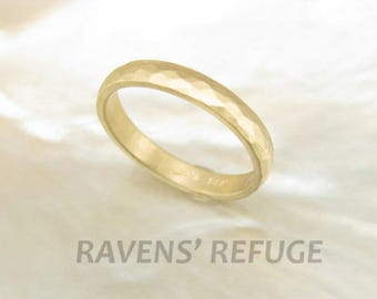 unique handcrafted wedding ring -- 3mm hammered wedding band in 14k gold