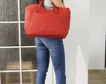 Leather Tote, Leather Handbag, Red Leather Bag,  Leather Bag, Laptop Bag, Laptop Bag, Travel Bag, Weekender, Red Leather Handbag, Julia XL