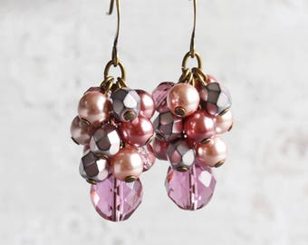 Dusty Rose Mauve Pink Beaded Cluster Earrings on Antiqued Brass Hooks