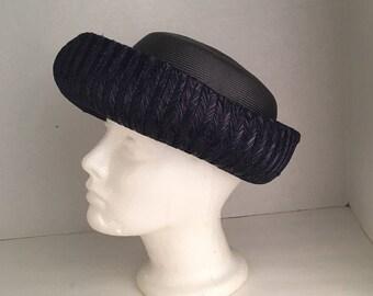 Ladies Dark Navy Blue Straw Breton Hat w Velvet bow Jan Leslie May Co 60s Vintage Dressy summer Hat Women Curved Brim