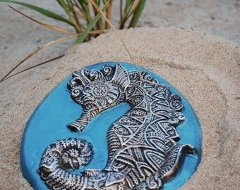 Seahorse Sculpture Beach Wall Plaque, Garden Stone Art, Ocean Art, Cast Stone Beach Decor Seahorse Gift For Her
