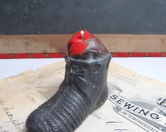 Baby Booty Shoe Pin Cushion Antique Bootie Pewter Metal Hat Pin Holder