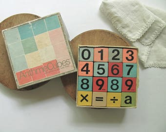 Vintage ArithmeCubes Number Blocks Wood Counting Stacking Math Games Wooden Cubes Learning Game Educational Toy Complete Box School Math Aid