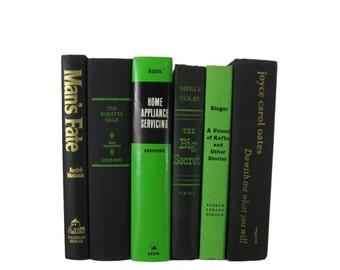 Green Black Books , Rustic Decor, Cottage, Farmhouse, Vintage Books , Books , Decorative Books ,  Shabby Chic Wedding