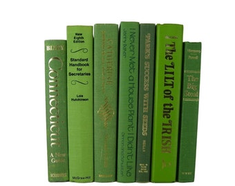 Green  Stack of Books, Rustic Books,  Vintage Books,  Home Decor, Wedding Decor, Old Books,  Centerpieces, Used Books