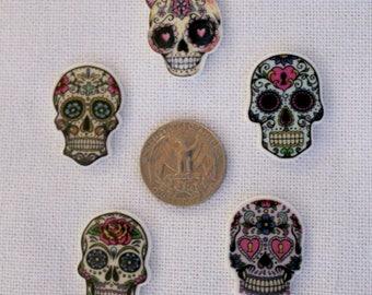 Acrylic Sugar Skull Flat Back Bow Center Magnet Badge Reel Assessories Dia de los Muertos