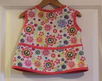 LAST ONE Toddler 1/2 PUL Waterproof Short Sleeved Art Smock Baby Bib with Peace Signs