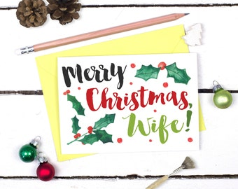 Christmas Card for Wife - Merry Christmas Wife - Wife Christmas Card - Gift for Wife