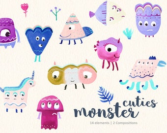 Monsters Clipart, Watercolor Monsters, Party Monsters, Quirky Monsters, Funny Monsters, Colorful, Cute Monsters, Unicorn Monster
