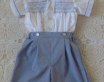 Hand Smocked Boys Suit, Smocked Boys shirt with button on shorts, Summer Classic,Heirloom,Cotton,Toddler, Size  12 months, baby boy, 1 year