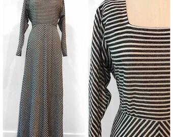 1970s Vintage Fred Rothschild Metallic Sparkle Black White Striped  Disco Maxi Dress