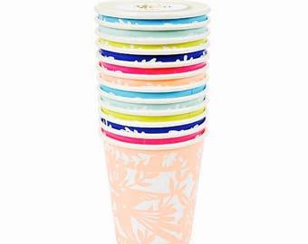 Fiesta Cups - Paper Picado Mexican Fiesta Party Decor, Summer Table Decor, Taco Bar, Cinco de Mayo, Bachelorette Party, Cactus Wedding