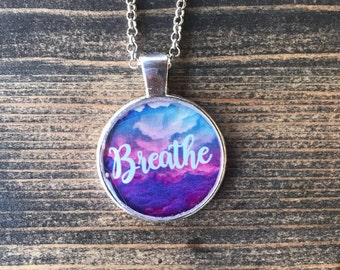 Breathe Pendant Colorful Clouds can be Personalized