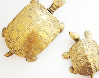 Brass Turtle Box - Jewelry Container Gold Brass Mid Century