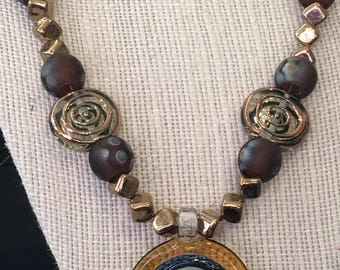 Amber Venetian Glass Pendant Necklace
