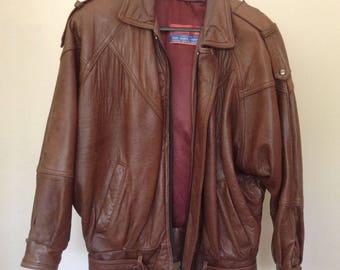 Ladies 1980s Vintage Brown Leather Bomber Jacket - Medium 8/10