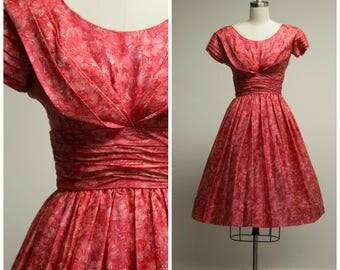 Vintage 1950s Dress • Sunrise Retrospect • Pink Floral Silk 50s Party Dress Size XSmall