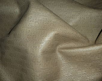 "Leather 12""x12"" Panama TAUPE Basket Weave Embossed Cowhide 2-2.5 oz/ 0.8-1 mm PeggySueAlso™ E8000-12 Full hides available"