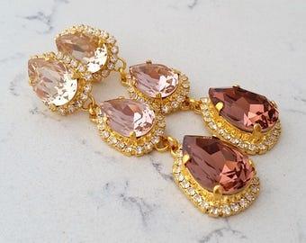 Bridal earrings,Blush chandelier earrings,Long earrings,Morganite earring,Gold earring,bridesmaid gift,Swarovski earrings