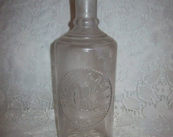 Antique Roger & Gallet Paris Embossed Glass Bottle with Stopper Only 15 USD