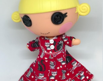 Red Kitten Nightgown for Lalaloopsy Little Doll // Little Sister // Doll Clothes // Stocking Stuffer // Under 10 // For Girls // Yellow