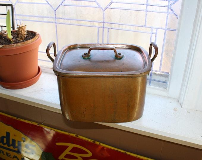 Antique Copper Roaster Pan & Lid Early 1900s Daubiere Original Patina