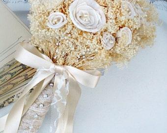 Babys Breath Bride Bouquet // Wedding Bouquet, Ivory Cream, Romantic, Bridal Bouquet, Lace and Pearls, Babies Breath, Wedding Flower Bouquet