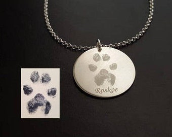 Paw Print Necklace, Paw Necklace, Nose Print Necklace, Pet Memorial Necklace, Pet Necklace, Sterling Silver, 14k Gold Filled, Rose Gold Fill