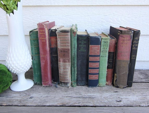 Set of 11 Vintage Books - Antique Book Decor -Farmhouse - Tattered Books - Black, Gold, Red, Coral, Green - Rustic Books - French Country